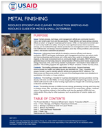 Micro and Small Enterprises: Metal Finishing